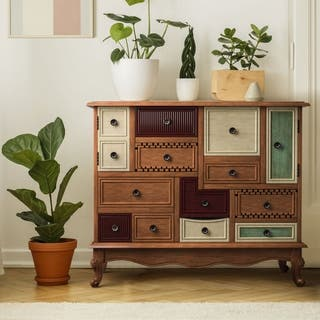 furniture of america cirque vintage style multicolored antique walnut wood chest - Antique Bookshelves
