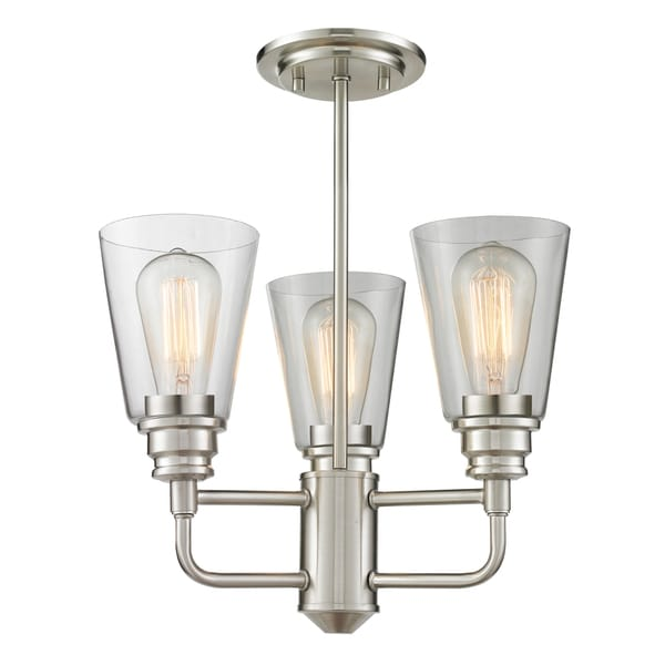 Avery Home Lighting Annora Brushed Nickel 3-light Clear Glass Semi Flush Mount