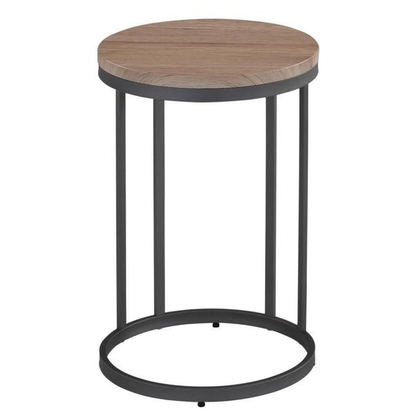 Munich Washed Oak Grey Metal Accent Table Free Shipping