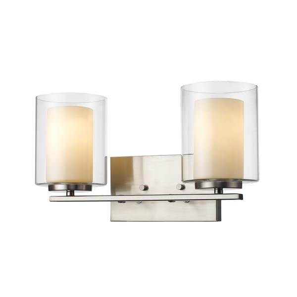 Avery Home Lighting Willow 2-light Inner Matte Opal & Outer Clear Vanity