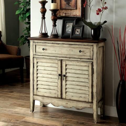 Furniture of America Loor Vintage White 36-inch Solid Wood Storage Cabinet