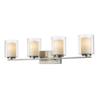 Avery Home Lighting Willow 4-light Clear Outer Glass and Matte Opal Inner Glass Shade Vanity