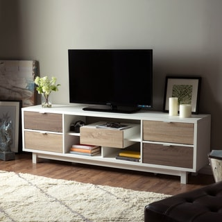 Furniture of America Yave Mid-Century 70-inch White Wood TV Stand