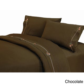 HiEnd Accents 350 Thread Count Embroidered Pine Cone Sheet Set (3 options available)