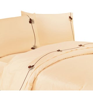 HiEnd Accents 350 Thread Count Embroidered Pine Cone Sheet Set