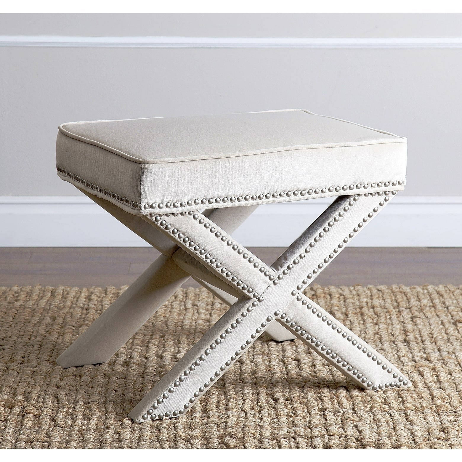 Shop Abbyson Marcus Cream Nailhead Trim Ottoman Bench