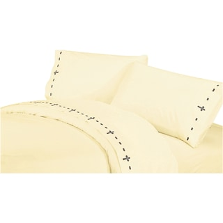 HiEnd Accents 350 Thread Count Embroidered CrossDeep Pocket Sheet Set