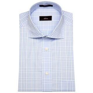 Alara Blue Euro Colar Men's Gingham Plaid Dress Shirt