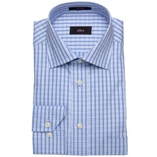 Alara Blue Small Window Pane Dobby Men's Dress Shirt
