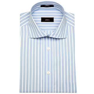 Alara Paris Blue Stripe Euro Collar Men's Dress Shirt