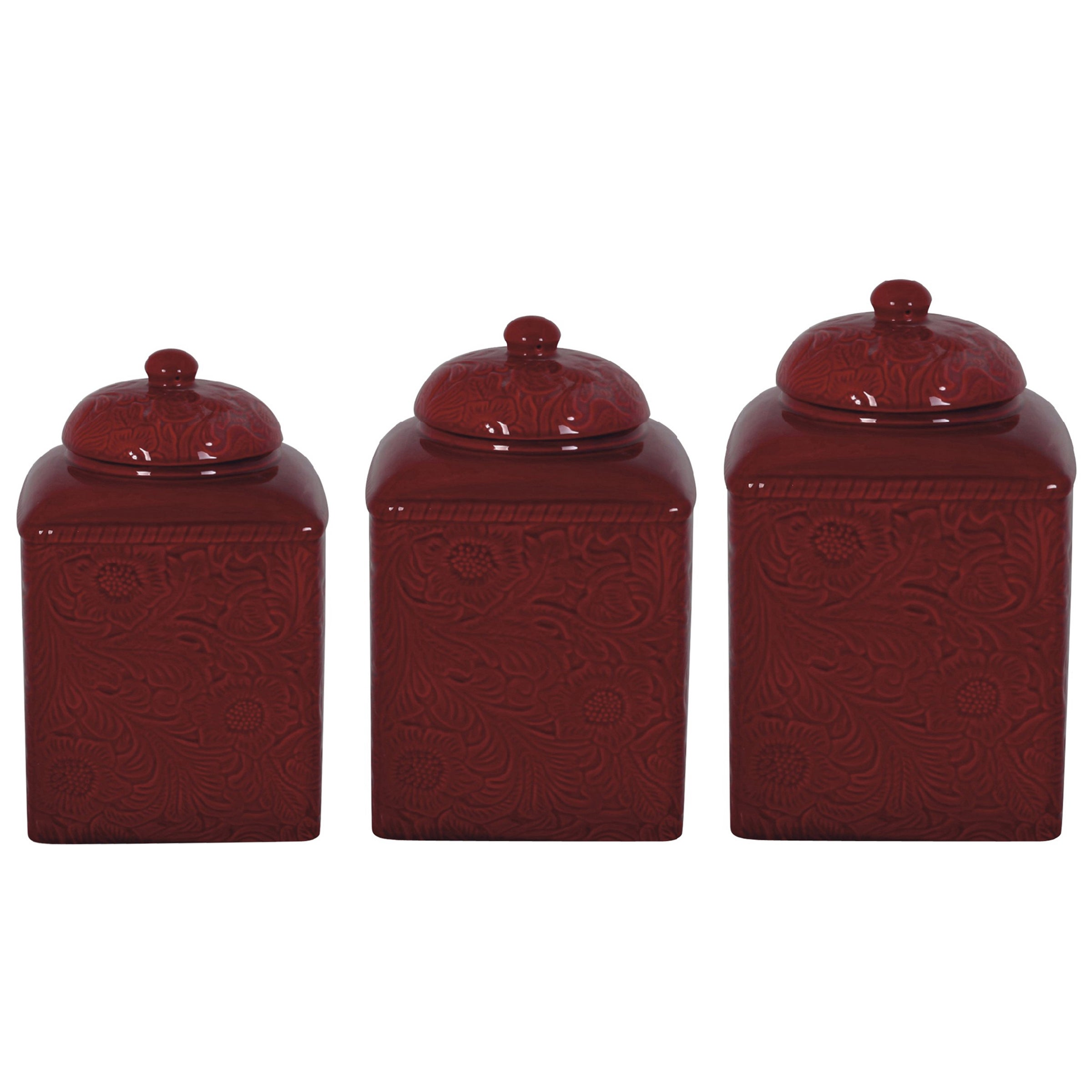 Hiend Accents Savannah Red Canister 3 Piece Set On Sale Overstock 9958684