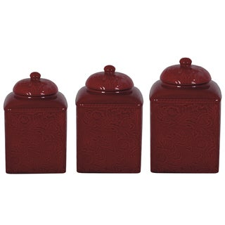 HiEnd Accents Savannah Red Canister 3-piece Set (Option: Red)