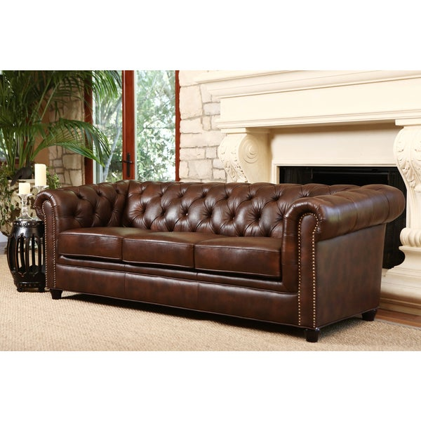 Abbyson Vista Tufted Distressed Brown Italian Chesterfield