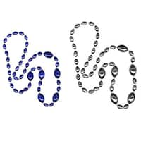 SportBeads Silver/ Blue Jumbo Football Bead Necklaces (Set of 2)