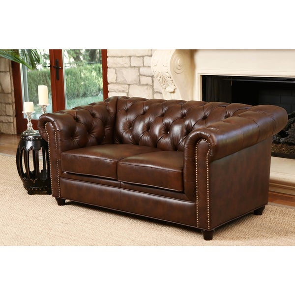 Abbyson Vista Tufted Distressed Brown Italian Chesterfield Leather Loveseat Free Shipping
