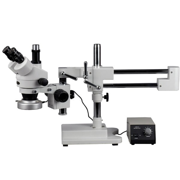 7X-45X Trinocular Zoom Stereo Microscope with Heavy-duty Metal 80-LED Ring Light