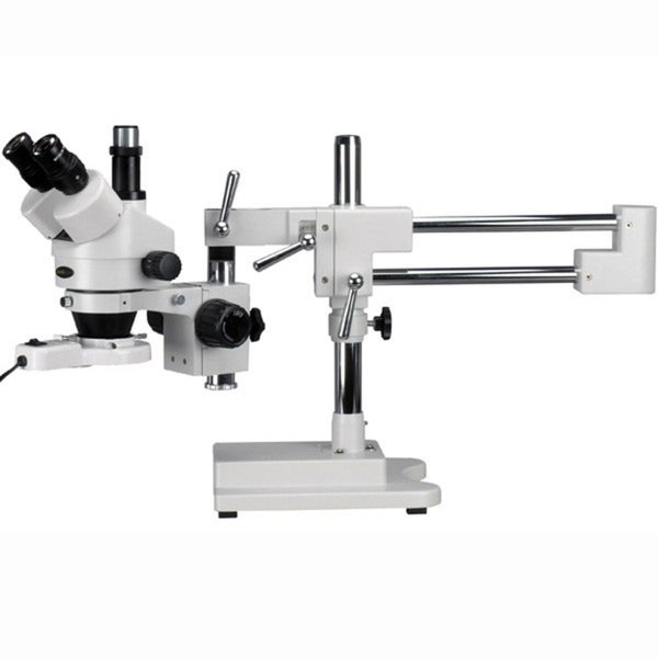 7X-45X Trinocular Stereo Boom Zoom Microscope and Fluorescent Light