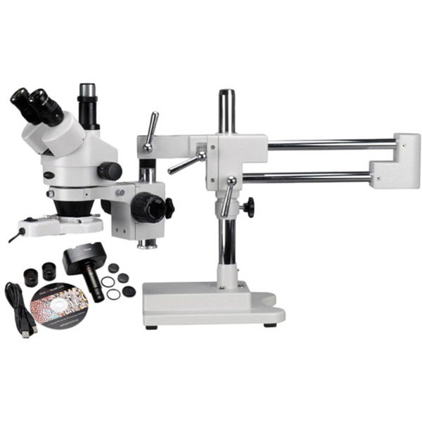 7X-45X Stereo Boom Microscope and 1.3M Camera and Light