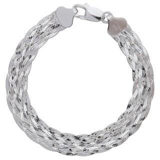 Sterling Silver Diamond-cut Italian 8-strand Braided Herringbone Bracelet