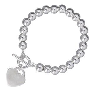 Karizia Sterling Silver Italian Heart Charm Bracelet