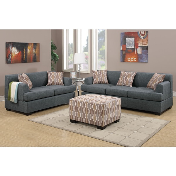 Poundex Farsund 2 Piece Living Room Set In Blended Linen With Matching Ottoman And Pillows