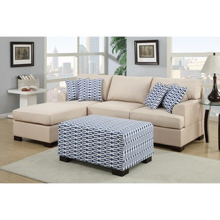 Moss 2-piece Blended Linen Sectional Sofa with Matching Ottoman