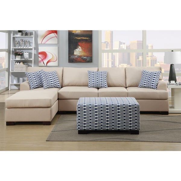 Shop Moss Large 2-piece Blended Linen Sectional Sofa with Matching ...