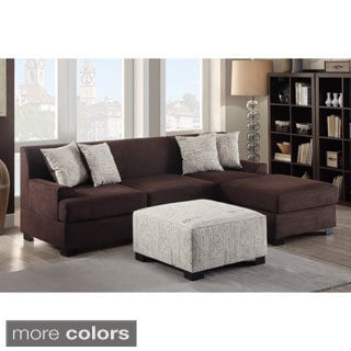Narvik 2-piece Microsuede Sectional Sofa with Matching Ottoman