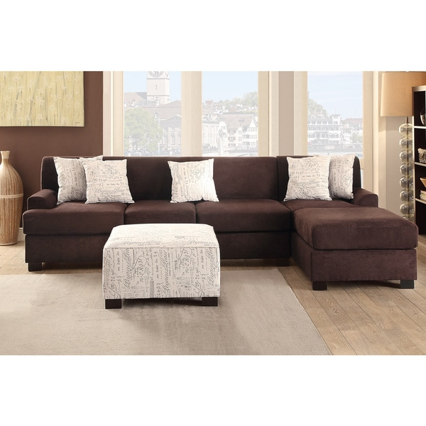 Shop Narvik Large 2-piece Microsuede Sectional Sofa with Matching ...