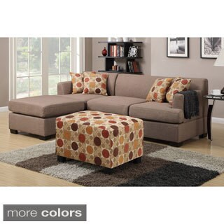 Farsund 2-piece Blended Linen Contemporary Sectional Sofa with Matching Ottoman