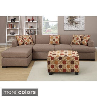 Farsund Large Contemporary 2-piece Blended Linen Sectional Sofa with Matching Ottoman