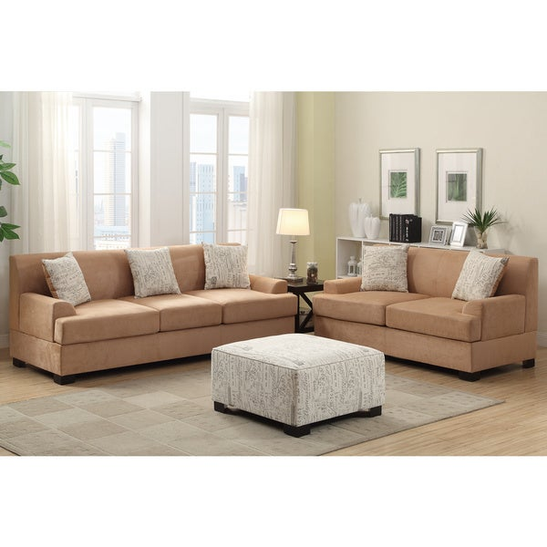 Narvik 2 Piece Microsuede Living Room Set With Matching Ottoman And Pillows