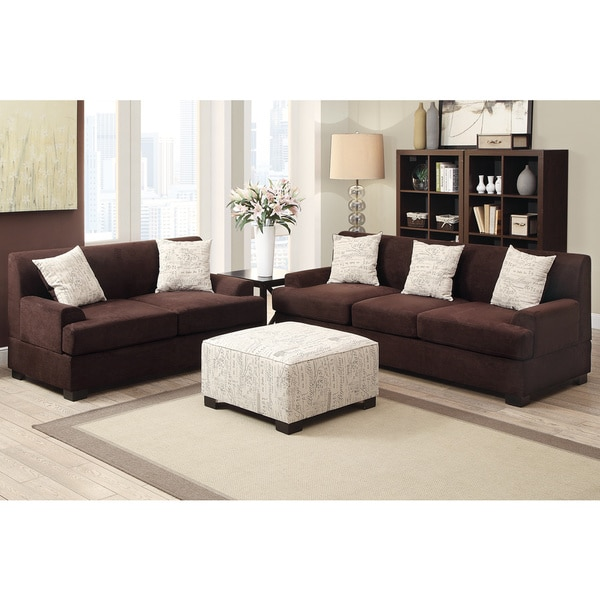 Narvik 2-piece Microsuede Living Room Set with Matching Ottoman ...