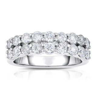 Eloquence 14k White Gold 1 1/2ct TDW Diamond 2-row Band