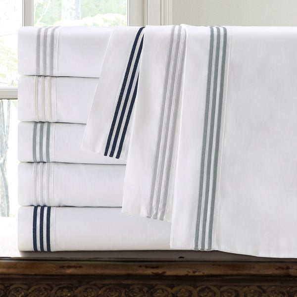 Echelon Home Three Line Hotel Collection Cotton Sateen Sheet Set