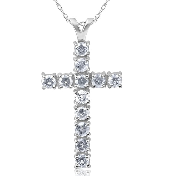 14k White Gold 1ct TDW Diamond Cross Necklace