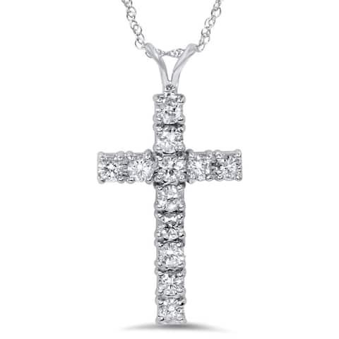 14k White Gold 1ct TDW Diamond Cross Necklace