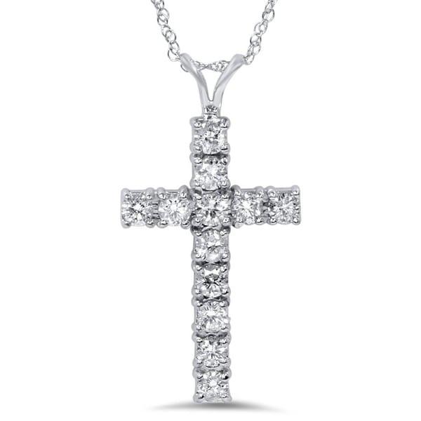 4b29f86d1b0b27 Shop 14k White Gold 1ct TDW Diamond Cross Necklace - On Sale - Free ...