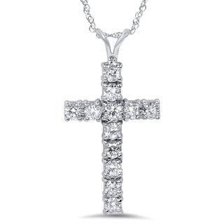 14k White Gold 1ct TDW Diamond Cross Necklace (I-J, I2-I3)