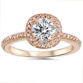 14k Rose Gold 1 1/3ct TDW Diamond Halo Engagement Ring