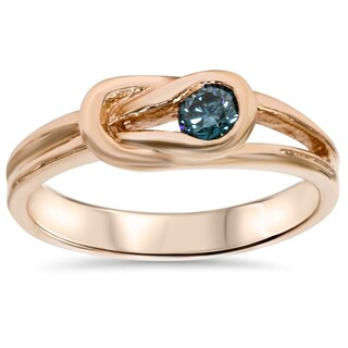 14k Rose Gold 1/5ct Blue Diamond Solitaire Knot Ring