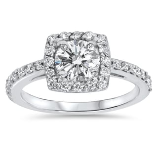 14k White Gold 1ct TDW Halo Diamond Engagement Ring