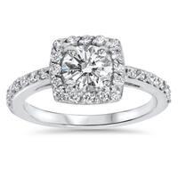 14k White Gold 1ct TDW Halo Diamond Engagement Ring