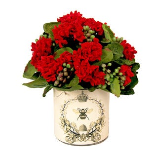 Red Kalanchoe in Glass Container with French Bee Label