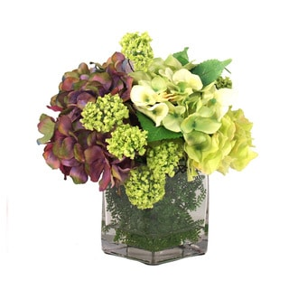 Green and Deep Lavender Hydrangea with Vine/ Ferns in Glass Vase