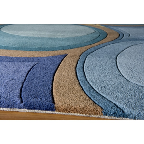 Shop Momeni New Wave Blue Hand Tufted And Hand Carved Wool
