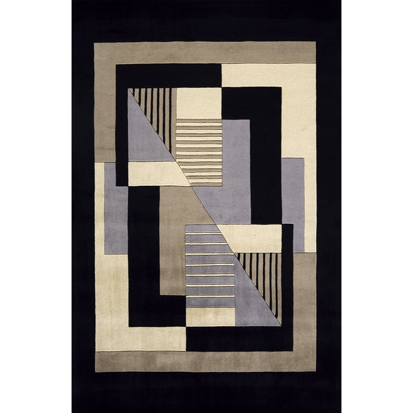 "Momeni New Wave Black Hand-Tufted and Hand-Carved Wool Rug (5'3 X 8') - 5'3"" x 8'"