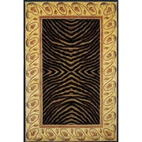 "Momeni New Wave Black Hand-Tufted and Hand-Carved Wool Rug - 5'3"" x 8'"
