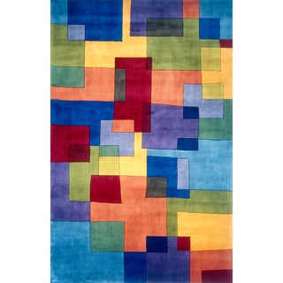 """Momeni New Wave Multicolor Hand-Tufted and Hand-Carved Wool Rug - Multi - 5'3"""" x 8'"""