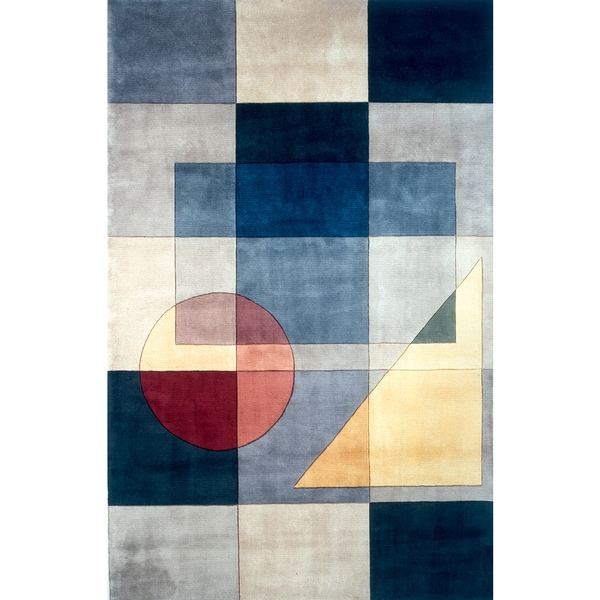 """Momeni New Wave Blue Hand-Tufted and Hand-Carved Wool Rug (5'3 X 8') - 5'3"""" x 8'"""